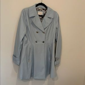 Blue Women's Double Breasted Trench Coat